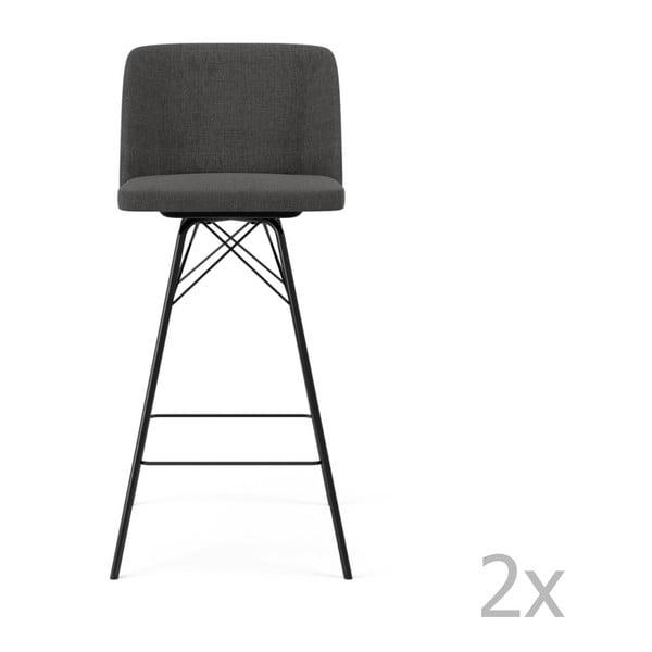 Set 2 scaune de bar Tenzo Tom, înălțime 99 cm, gri antracit