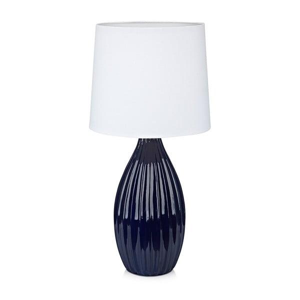 Niebiesko-biała lampa stołowa Markslöjd Stephanie, ø24cm