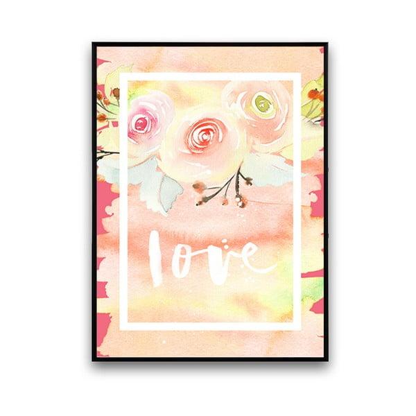 Plakát s květinami Love, 30 x 40 cm