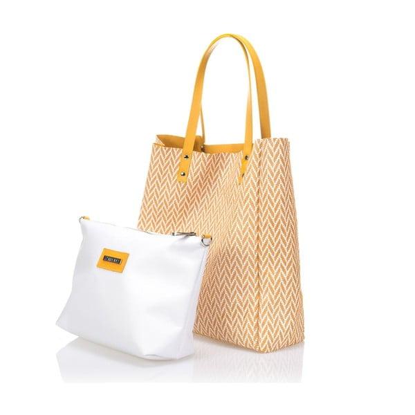 Oboustranná kožená kabelka Krole Korrine, žlutá