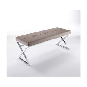 Béžová chromovaná lavice Tomasucci