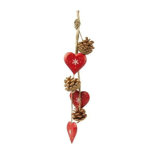Girlanda wisząca z serduszkami Antic Line Red Hearts and Pinecones