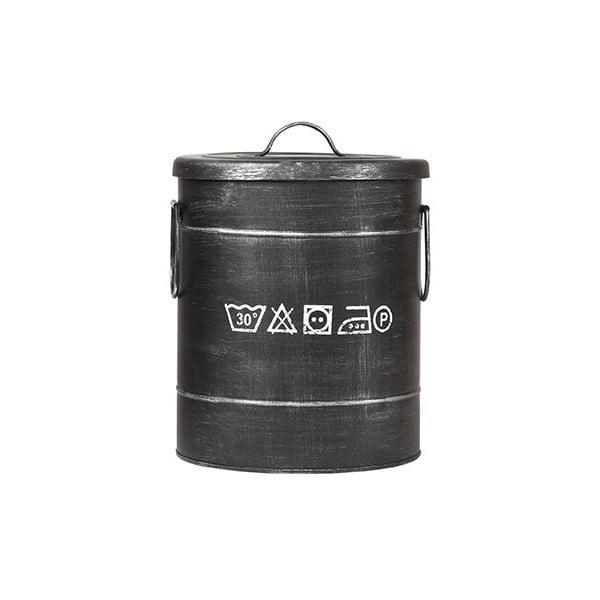 Černý kovový koš na špinavé prádlo LABEL51, ⌀26cm