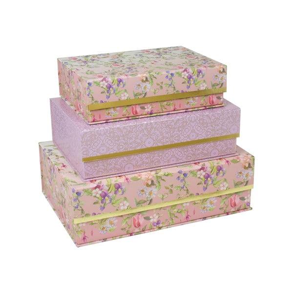 Sada 3 boxů se zlatým pruhem Charming Garden
