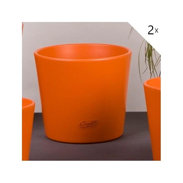 Sada 2 oranžových květináčů Matt, 17 cm
