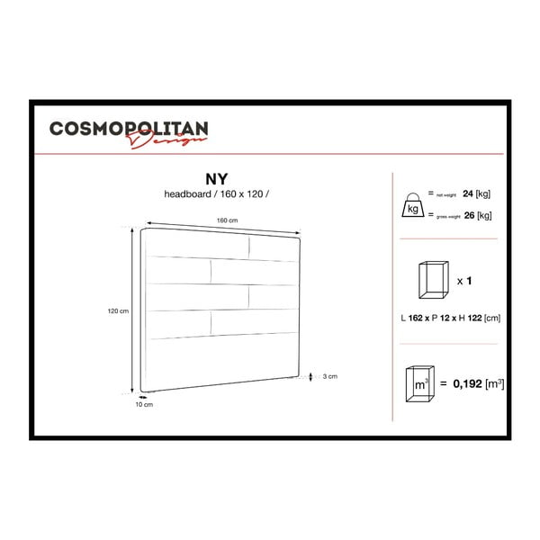 Fialové čelo postele Cosmopolitan Design New York, šířka 160cm