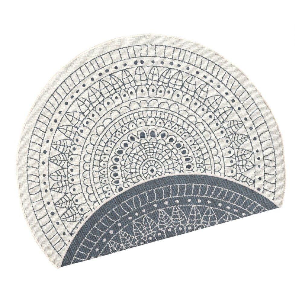 Šedý vzorovaný oboustranný koberec vhodný i na ven bougari Porto, Ø 200 cm