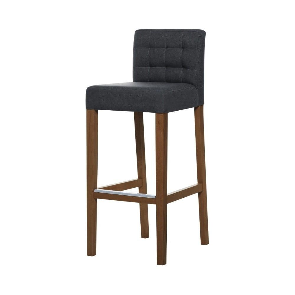 Tmavě šedá barová židle s tmavě hnědými nohami Ted Lapidus Maison Jasmin
