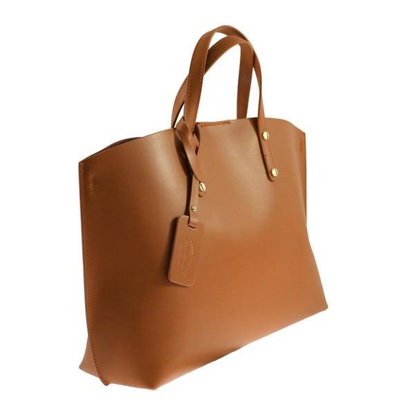 Koňakově hnědá kožená kabelka Chicca Borse City