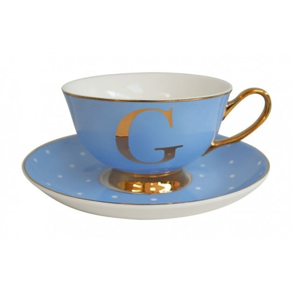 Modrý   hrnek a podšálek s písmenem G Bombay Duck