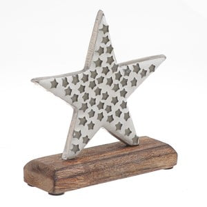 Vánoční dřevěná dekorace ve tvaru hvězdy InArt Karin