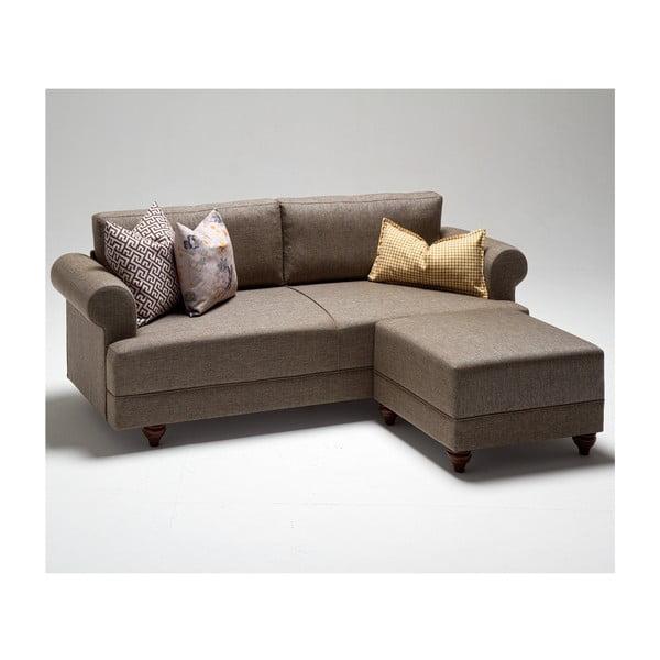 Home Gloria barna kanapé lábtartóval - Balcab