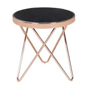 Černý konferenční stolek s konstrukcí v měděné barvě Skyport MICHELLE, ⌀ 42 cm