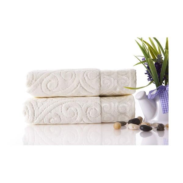 Set dvou ručníků Hanzade Ecru, 50x90 cm
