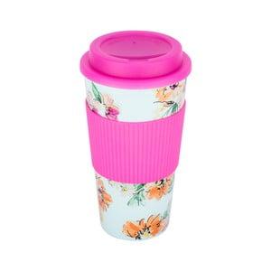 Růžový termohrnek Tantitoni Floral, 450 ml