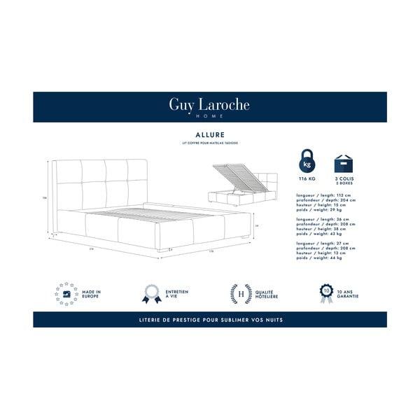 Šedá dvoulůžková postel s úložným prostorem Guy Laroche Home Allure, 160x200cm