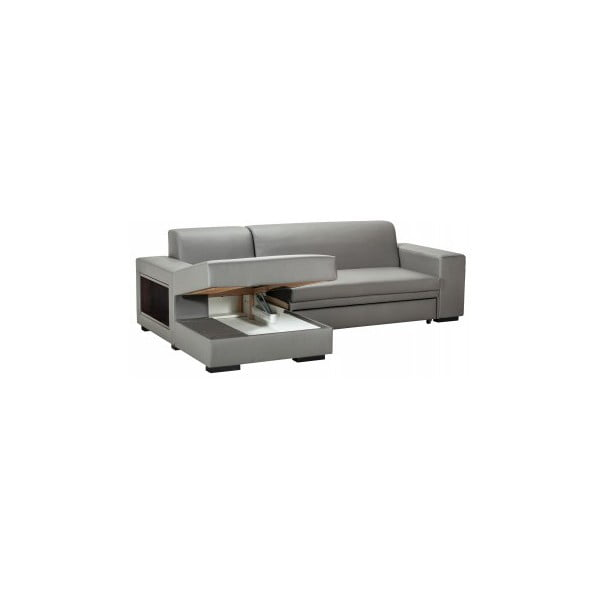 Rozkládací pohovka A-Maze s úložným prostorem 245 cm, šedá, levá strana