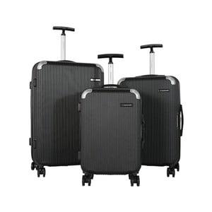 Sada 3 černých cestovních kufrů na kolečkách Travel World