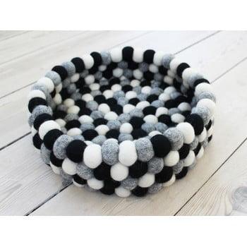 Coș depozitare cu bile din lână Wooldot Ball Basket, ⌀ 28 cm, alb - negru imagine