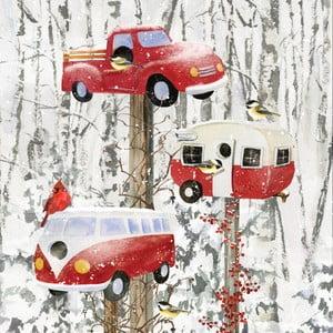 Balení 10 papírových ubrousků s vánočním motivem PPD Retro Birdhouse