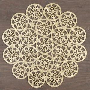 Kulaté prostírání ve zlaté barvě InArt XMas Snowflake