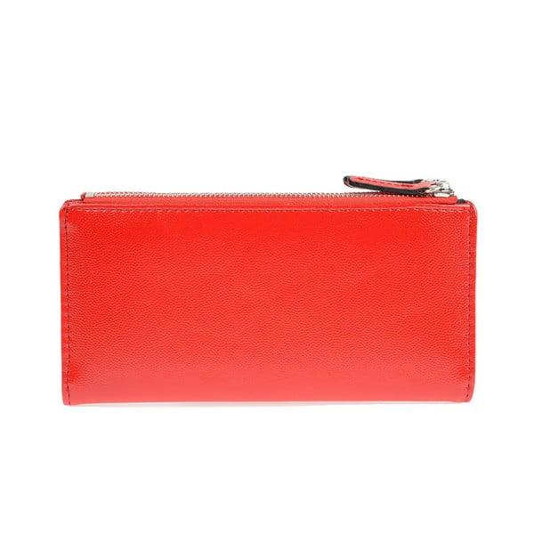 Červená koženková peněženka Carla Ferreri, 10.5 x 19 cm
