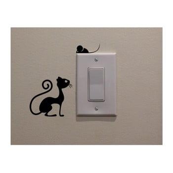 Autocolant decorativ de perete Cat & Mouse, înălțime 11 cm