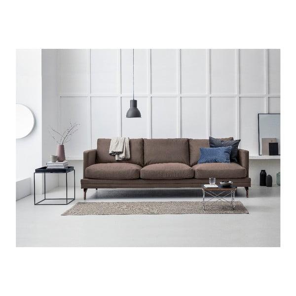 Hnědá trojmístná pohovka s podnožím ve zlaté barvě Windsor & Co Sofas Jupiter