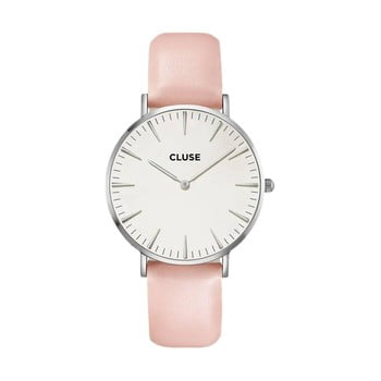 Ceas damă, curea din piele Cluse La Bohéme, roz de la Cluse