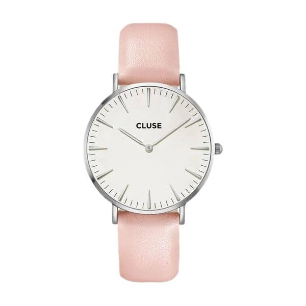 Dámské hodinky s růžovým koženým řemínkem Cluse La Bohéme