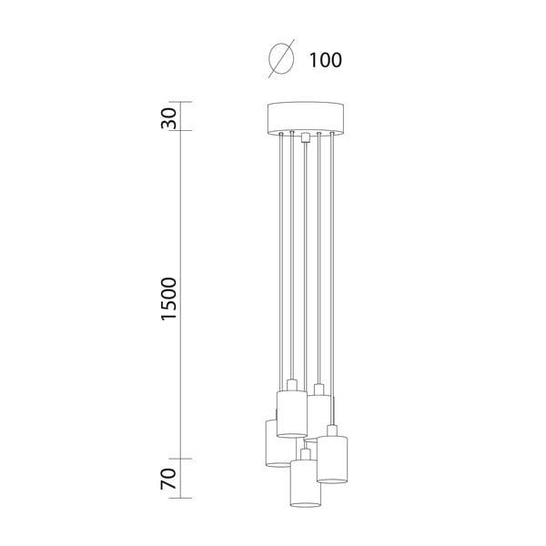 Černé závěsné svítidlo s 5 kabely Bulb Attack Cero Group