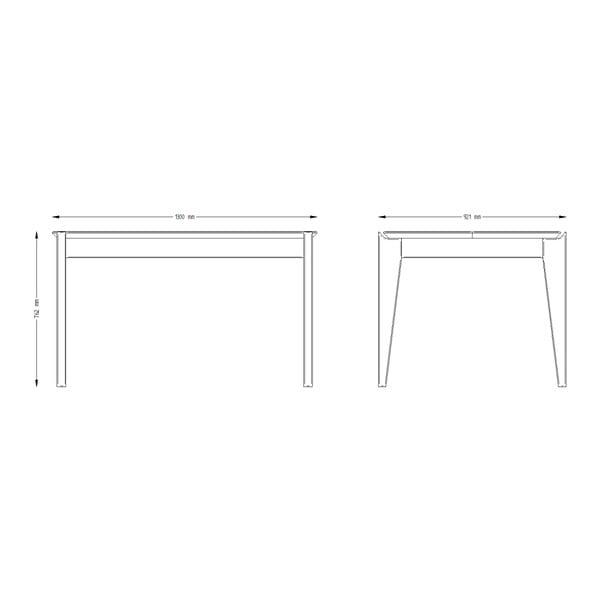 Stůl z borovicového dřeva s bílými nohami Askala Hook, délka130cm