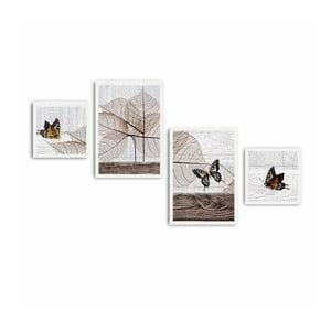 Vícedílný obraz Leaves and Butterfly, 136x75 cm