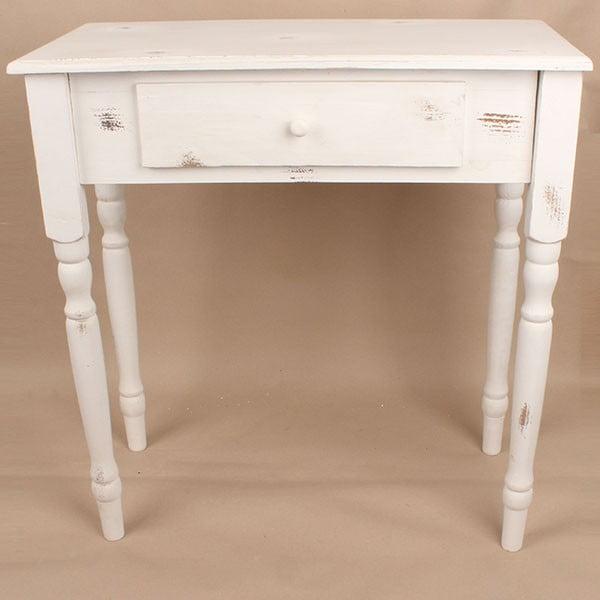 Dřevěný stůl se zásuvkou White Days, 74x78 cm