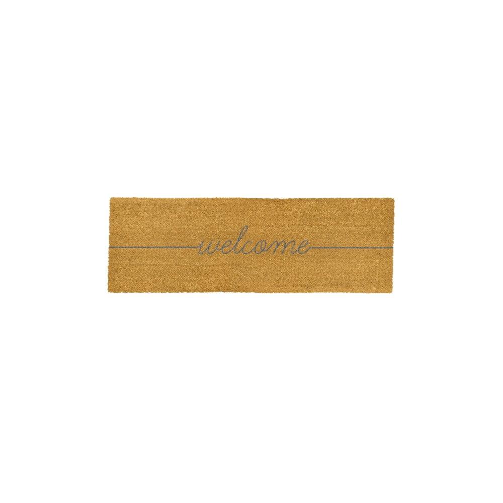 Šedá dlouhá rohožka z přírodního kokosového vlákna Artsy Doormats Welcome,120x40cm