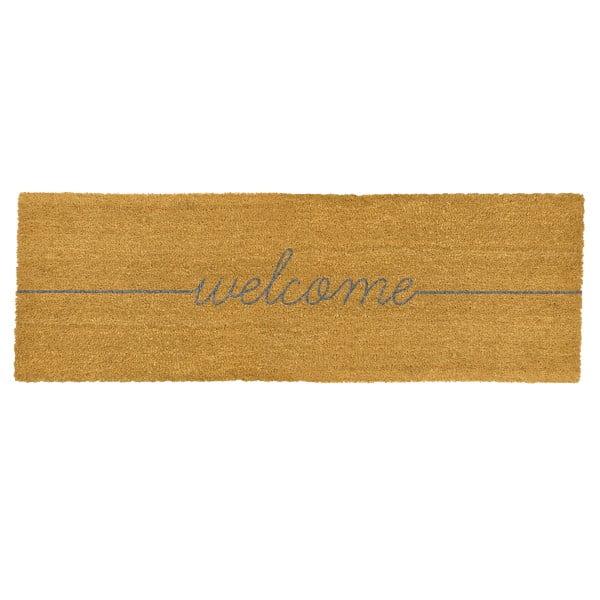 Podłużna wycieraczka z naturalnego włókna kokosowego Artsy Doormats Welcome, 120x40 cm