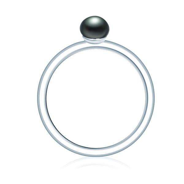 Prsten s tmavě modrou perlou Nova Pearls Isména, vel. 56