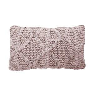 Růžový pletený polštář OVERSEAS Diamond,30x50cm