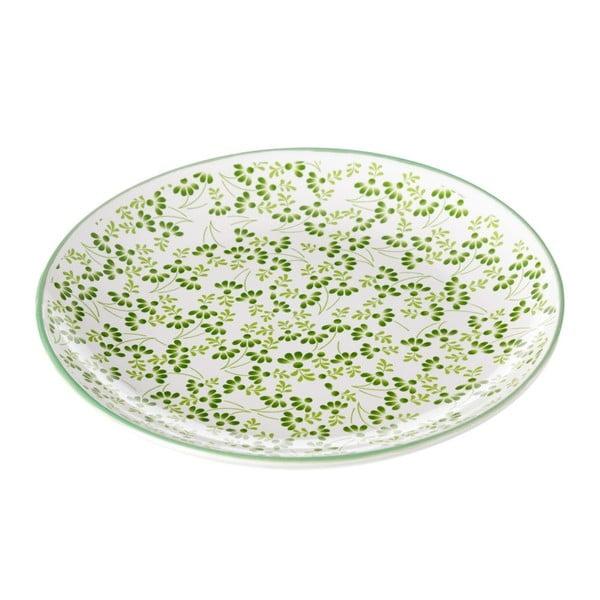 Zielono-biały talerz Unimasa Meadow, Ø 20,3 cm