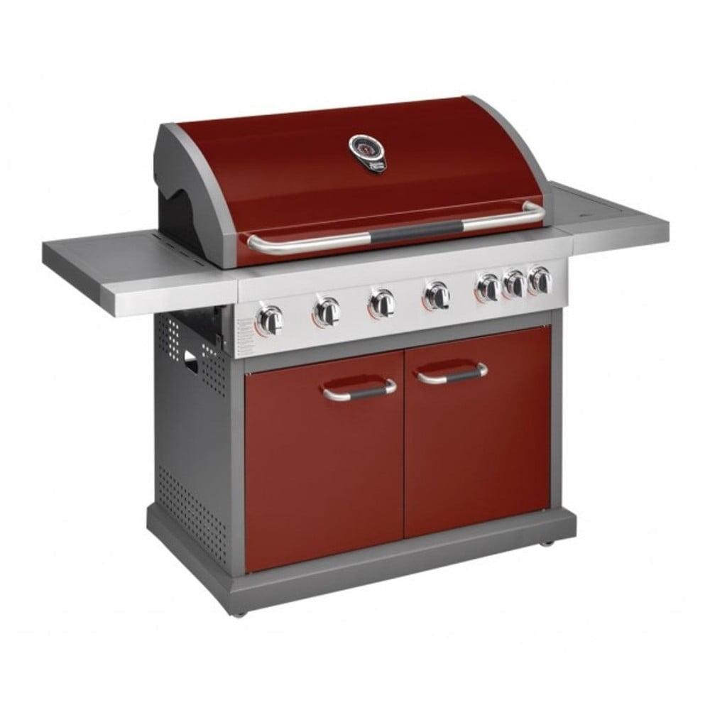 Červený plynový gril s 6 samostatně ovladatelnými hořáky, teploměrem a bočním ohřívačem Jamie Oliver Pro