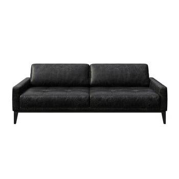 Canapea din piele cu 3 locuri MESONICA Musso Tufted negru