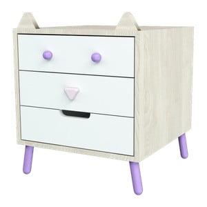 Komoda s fialovými detaily Dotties Tlustá kočka