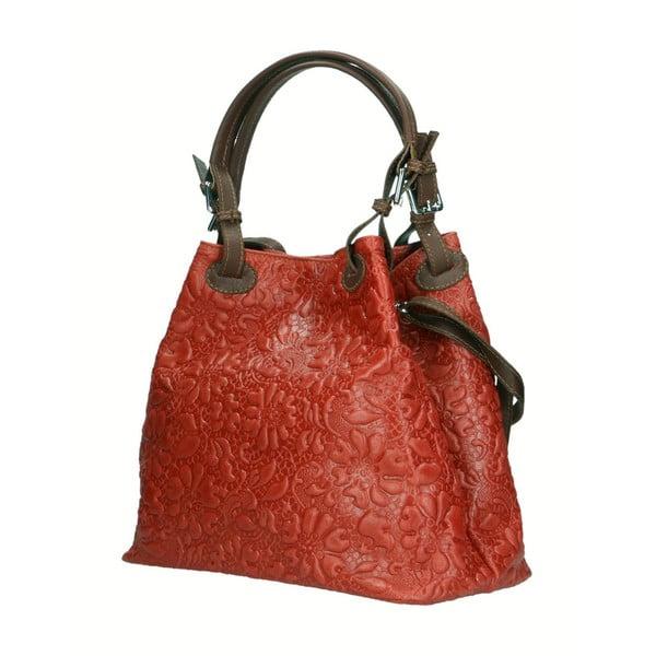 Červená kožená kabelka Chicca Borse Origono