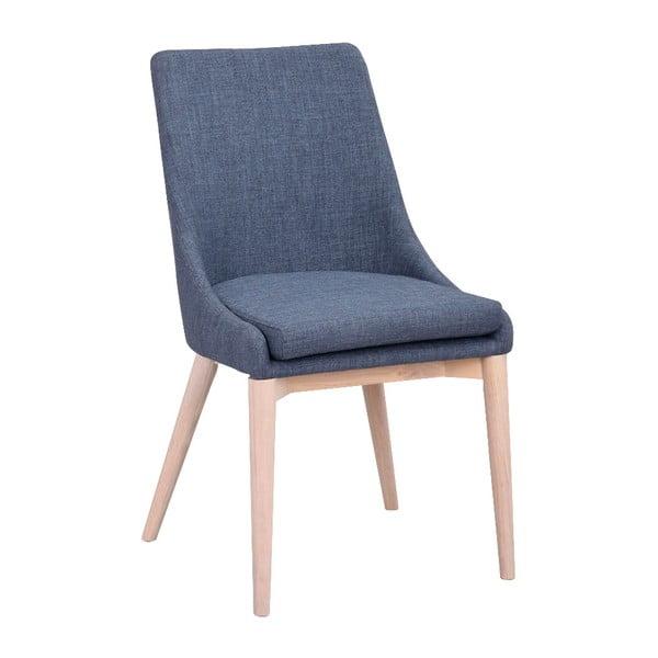 Modrá polstrovaná jídelní židle se světle hnědými nohami Rowico Bea