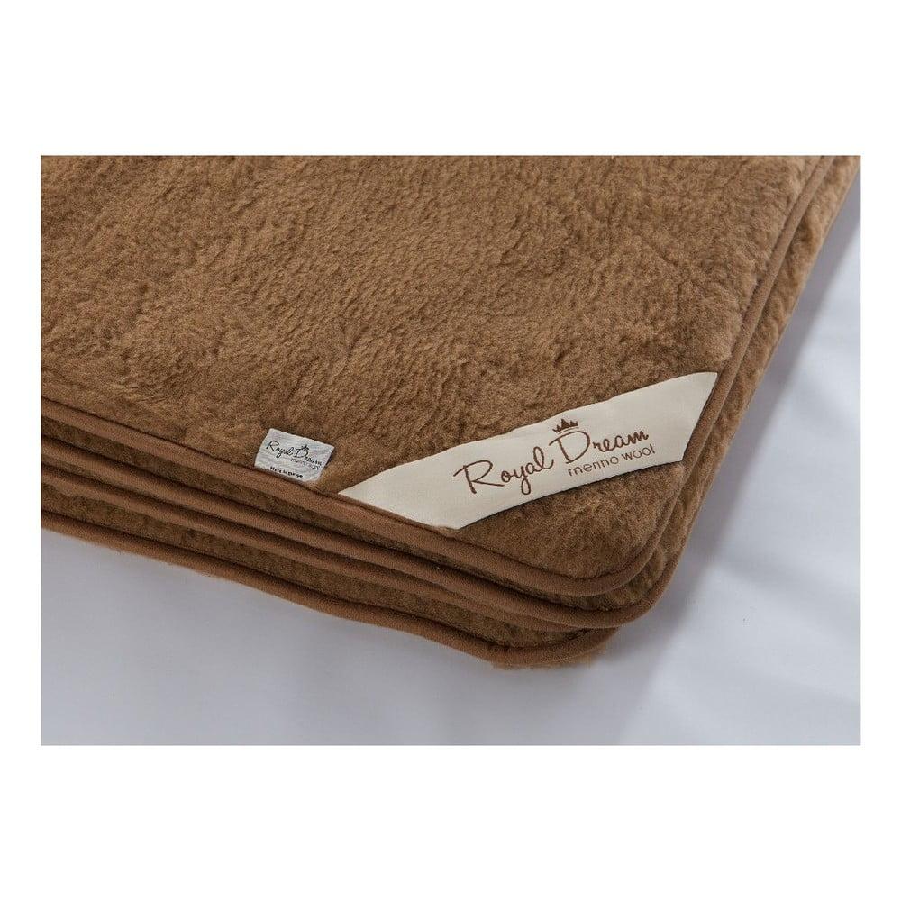 Tmavě hnědá deka z merino vlny Royal Dream, 220 x 200 cm