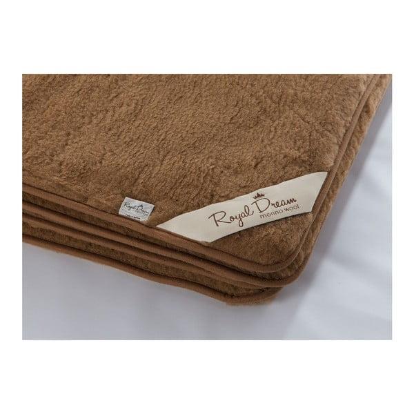 Tmavě hnědá vlněná deka Royal Dream Merino, 90x200 cm