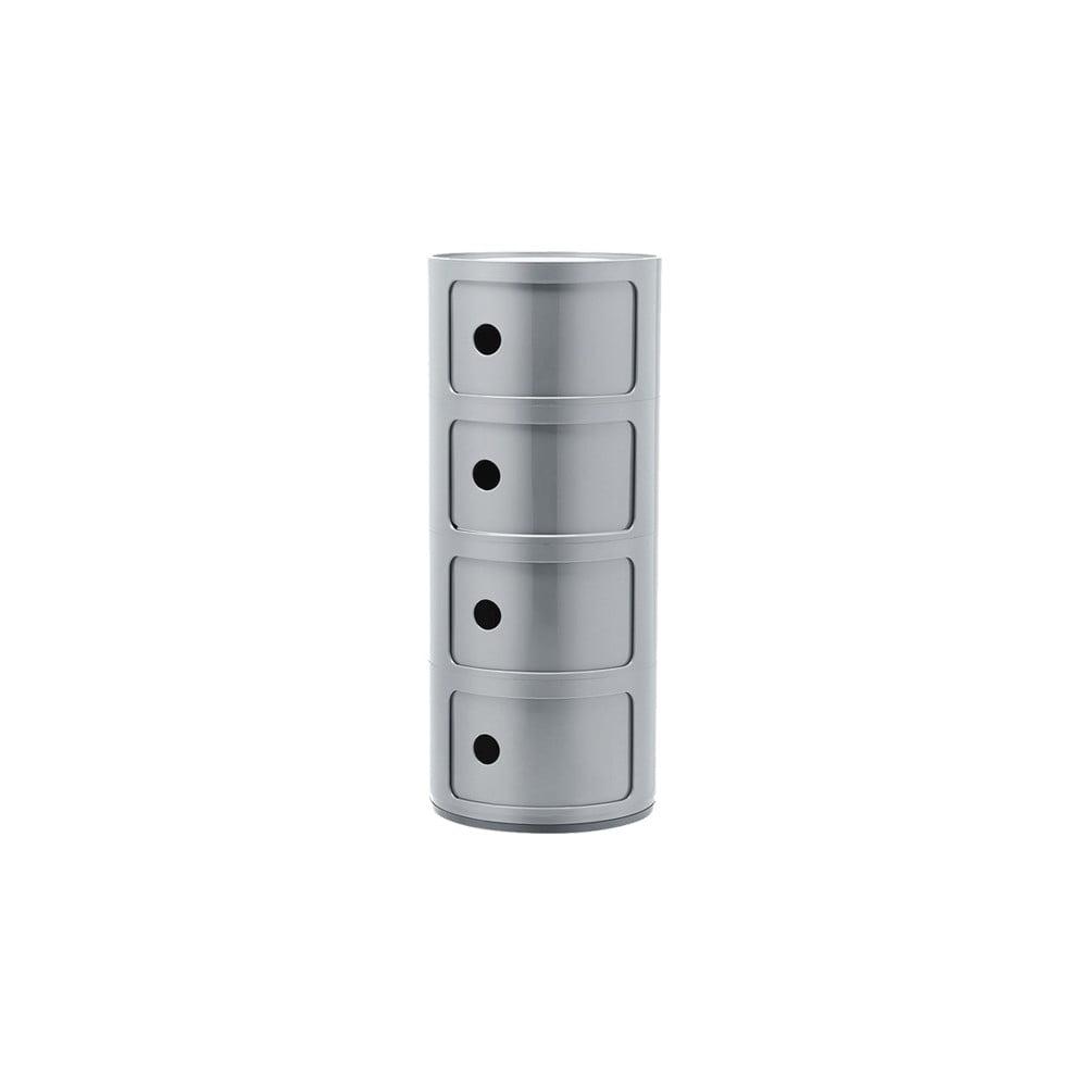 Stříbrný kontejner se 4 zásuvkami Kartell Componibili