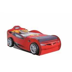 Červená dětská postel ve tvaru auta s úložným prostorem Race Cup Carbed With Friend Bed Red, 90 x 190 cm