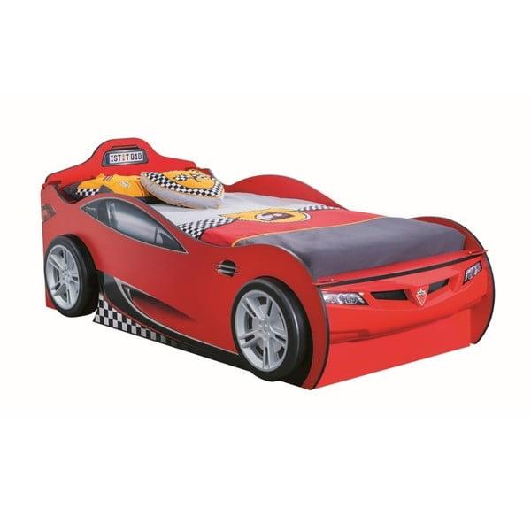 Race Cup Carbed With Friend Bed Red autó formájú piros gyerekágy tárolóhellyel, 90 x 190 cm