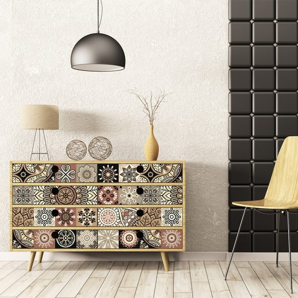Zestaw 30 naklejek na meble Ambiance Tiles Stickers For Furniture Cineloto Mento, 15x15 cm